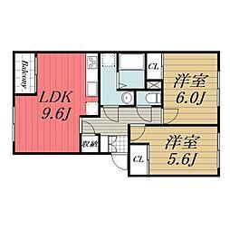 千葉県八街市大関の賃貸アパートの間取り