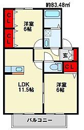 福岡県遠賀郡岡垣町野間2丁目の賃貸アパートの間取り