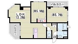 兵庫県明石市王子町1丁目の賃貸マンションの間取り