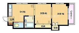 Osaka Metro谷町線 千林大宮駅 徒歩11分の賃貸マンション 2階2DKの間取り
