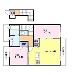モンレーヴ[2階]の間取り