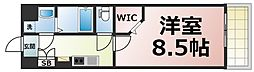 JPレジデンス大阪城東4 6階1Kの間取り