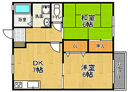兵庫県宝塚市小林1丁目の賃貸アパートの間取り