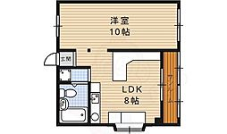 アジュールマンション 2階1LDKの間取り