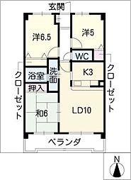 セジュール松が根[1階]の間取り