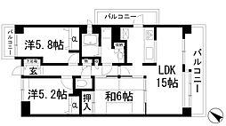 宝塚南ガーデンハウス[7階]の間取り