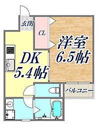 M scourt西宮北口 3階1DKの間取り