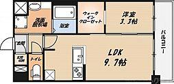 富士パンションB棟 1階1LDKの間取り