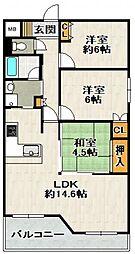 AMENITYCOURT K.1 B棟[2階]の間取り
