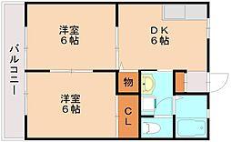 福岡県福岡市南区三宅3丁目の賃貸アパートの間取り