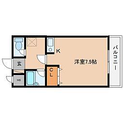 近鉄大阪線 桜井駅 徒歩4分の賃貸マンション 2階ワンルームの間取り