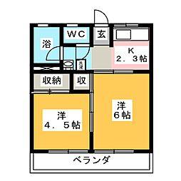 ホワイトタウン広瀬B[2階]の間取り