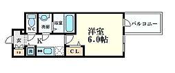 プレサンス心斎橋クオーレ 5階1Kの間取り