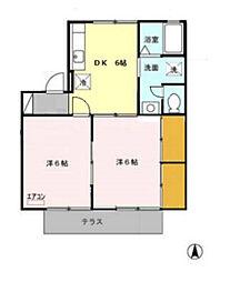 埼玉県鶴ヶ島市大字脚折の賃貸アパートの間取り