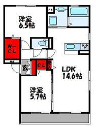D-roomS・K B棟[2階]の間取り