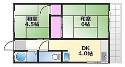 田中ハイツ 2階2DKの間取り