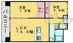 リラス福岡東[5階]の間取り