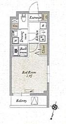 JR京浜東北・根岸線 王子駅 徒歩9分の賃貸マンション 2階1Kの間取り