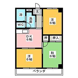 朝倉町 山口ハイツ[2階]の間取り