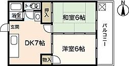 中川コーポラス[3階]の間取り