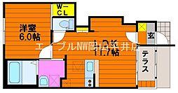 JR赤穂線 大多羅駅 徒歩13分の賃貸アパート 1階1LDKの間取り