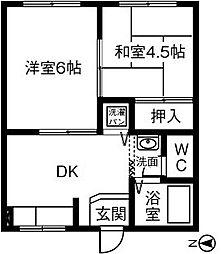 コ−ポ国衙[1B号室]の間取り