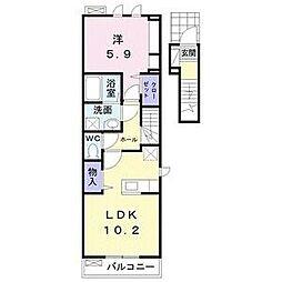 JR東北本線 太子堂駅 徒歩17分の賃貸アパート 2階1LDKの間取り