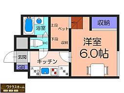 大阪府堺市北区金岡町の賃貸アパートの間取り