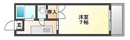 JR赤穂線 東岡山駅 徒歩19分の賃貸マンション 2階1Kの間取り