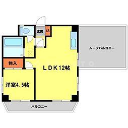 大建コーポ江坂 2階1LDKの間取り