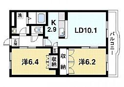 奈良県奈良市宝来4丁目の賃貸マンションの間取り