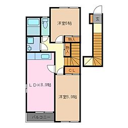 三重県鈴鹿市算所5の賃貸アパートの間取り