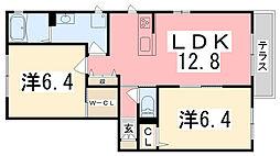 シャーボーン一番館B[102号室]の間取り