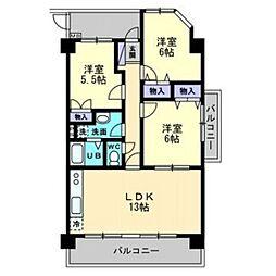クレール新屋敷[4階]の間取り