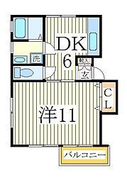 ホーリーハイツ5号棟[2階]の間取り