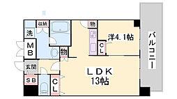 スプランディッド王子公園 8階1LDKの間取り