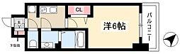 アステリ鶴舞トゥリア 5階1Kの間取り