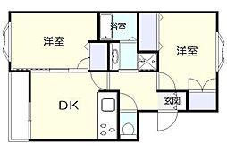 ハイツHANAZAWA[205号室]の間取り