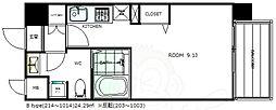 阪急千里線 天神橋筋六丁目駅 徒歩4分の賃貸マンション 10階ワンルームの間取り