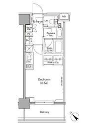 ザ・パークハビオ月島フロント 4階1Kの間取り