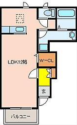 大阪府八尾市中田5丁目の賃貸アパートの間取り