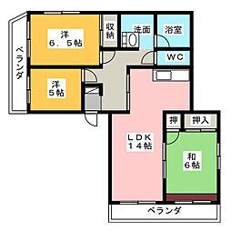 亀の井ハイツ[4階]の間取り