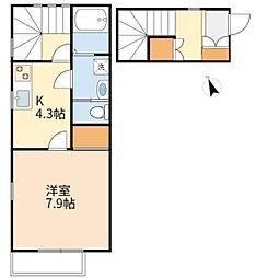 JR南武線 中野島駅 徒歩5分の賃貸アパート 2階1Kの間取り