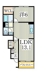 Shining Court 1階1LDKの間取り
