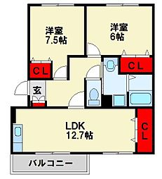 メゾンド本城 A棟[3階]の間取り