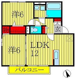 千葉県柏市小青田の賃貸アパートの間取り