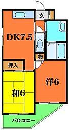 プルミエ金田 3階2DKの間取り