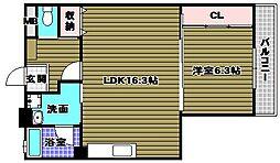 山本レンターマンション 1階1LDKの間取り
