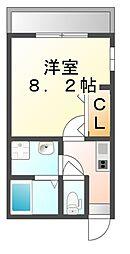 広島県福山市延広町の賃貸アパートの間取り