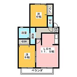 フォンティーヌB棟[1階]の間取り
